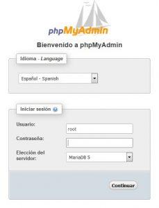 Pantalla de identificación de phpMyAdmin