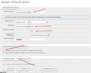 Ficha para agregar un nuevo usuario phpMyAdmin