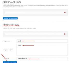 Generate Project API key