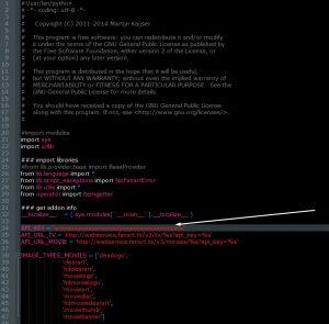 Editando el archivo fanarttv con Notepad