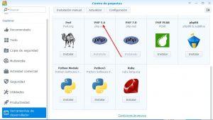 Instalar paquete PHP en el NAS Synology