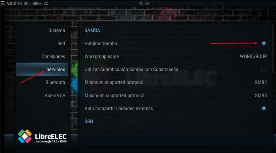 Habilitar Samba en Libreelec