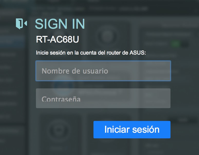 Router Asus, sign in