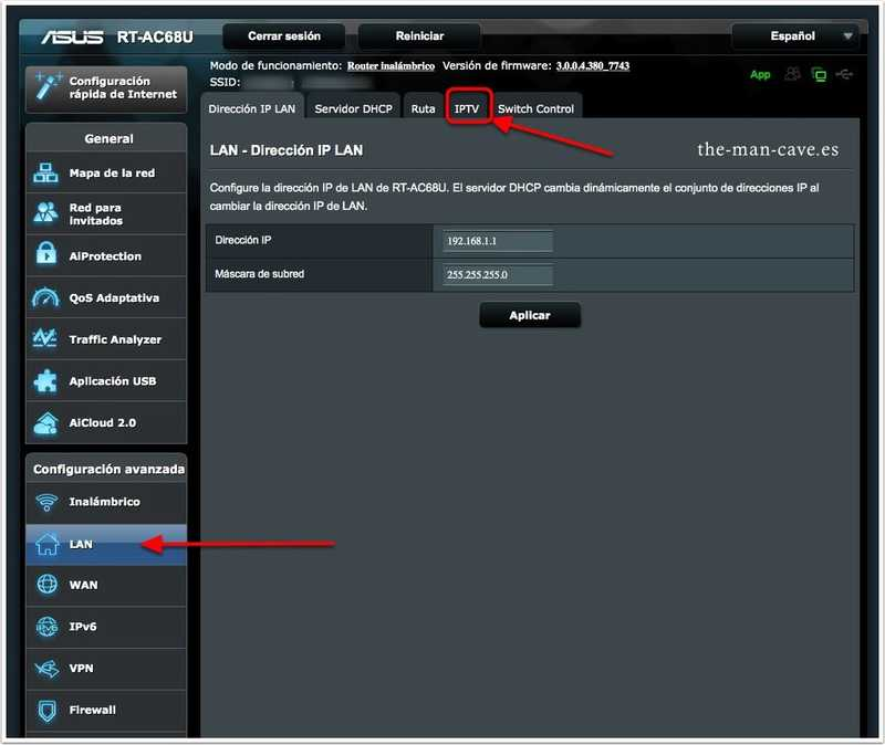 Router Asus, LAN cambios en IPTV