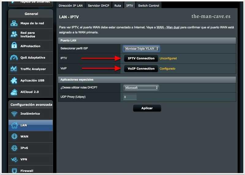 Router Asus, IPTV y VoIP de Movistar