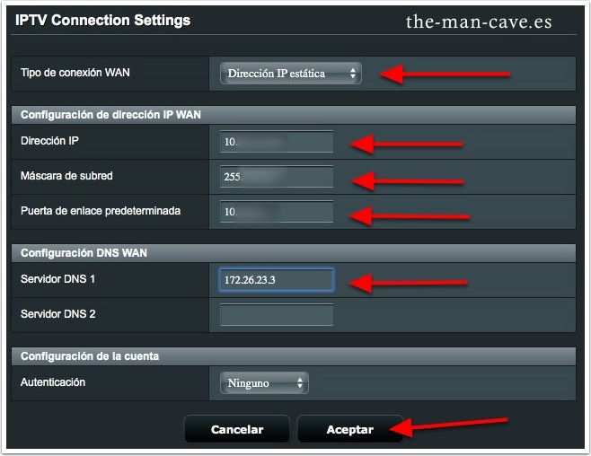 Router Asus, IPTV Connection Settings