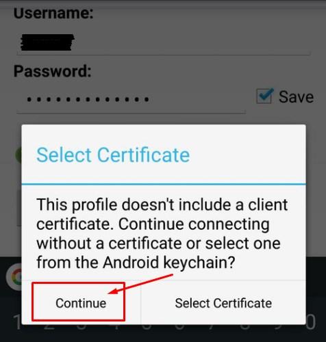 Seleccionar certificado para OpenVPN en Android