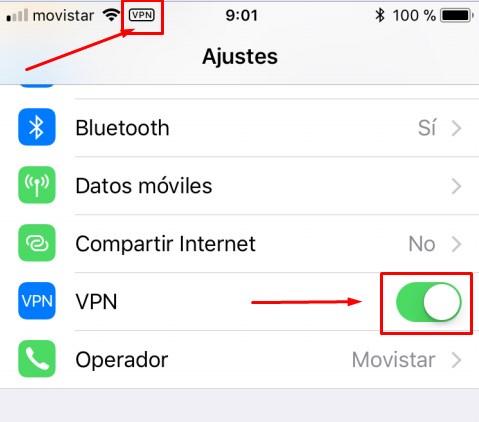 Pantalla de ajustes de iOS con VPN activado