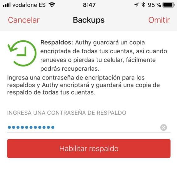 Copia de respaldo en la app Authy