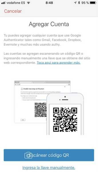 Escaneo de QR en la app Authy