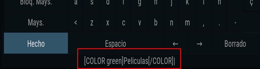 Etiqueta Color en Kodi