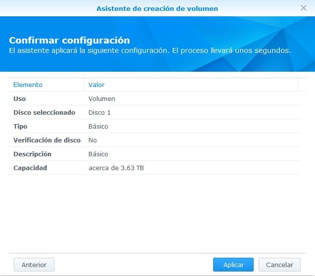 Resumen de la configuración de disco en NAS Synology