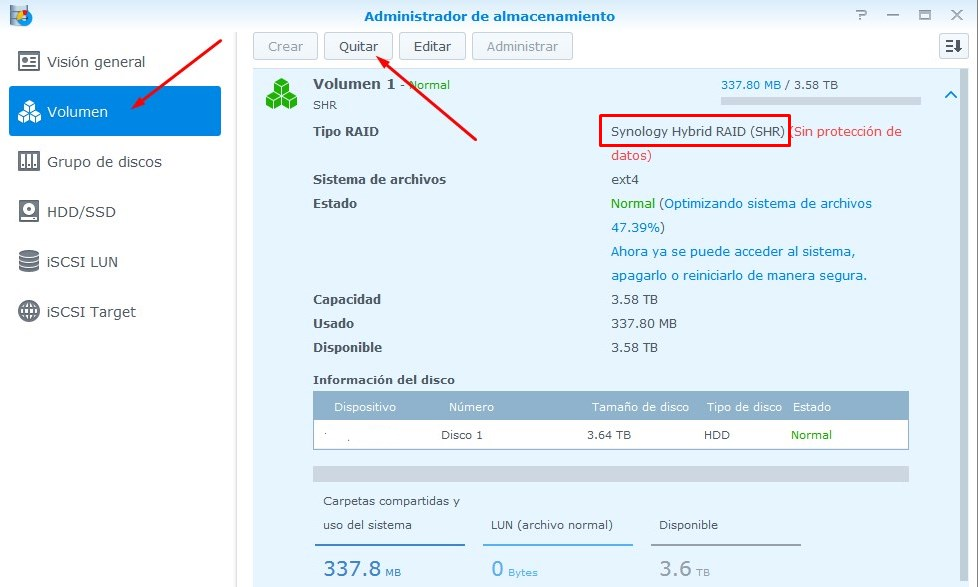 Quitar un volumen en Synology NAS