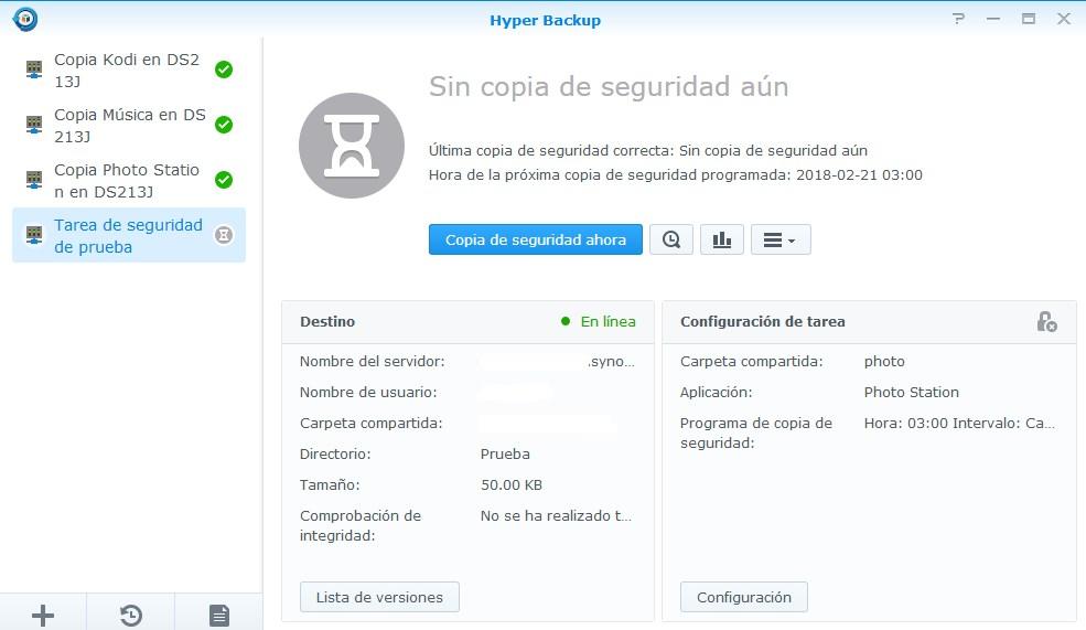 Lista de tareas de copia de seguridad en Hyper Backup