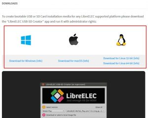 Descarga del programa en Libreelec