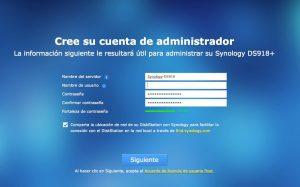 Synology, instalación desde cero. Cuenta de administrador