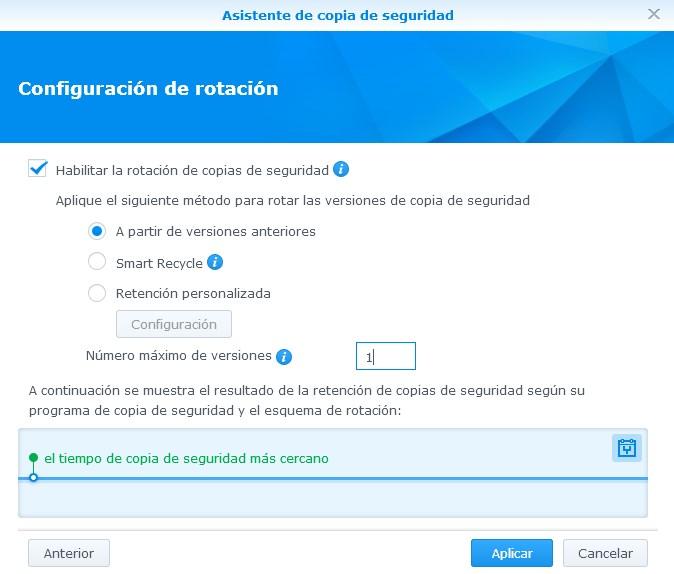 Rotación de las copias de seguridad en Hyper Backup