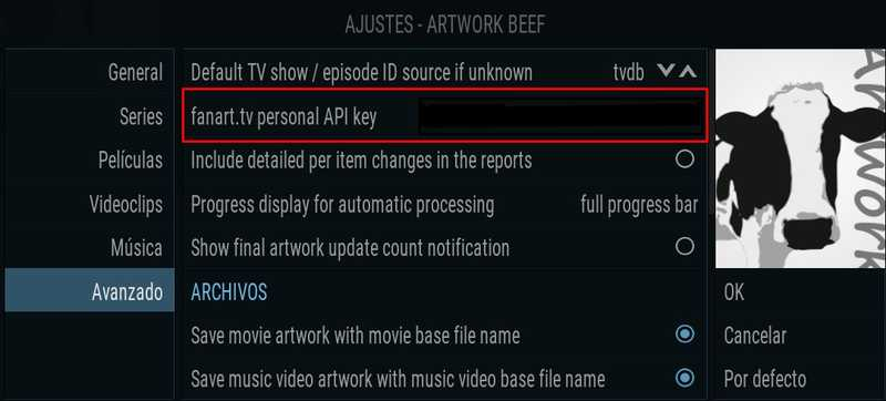 Artwork Beef, introducir API key de fanarttv