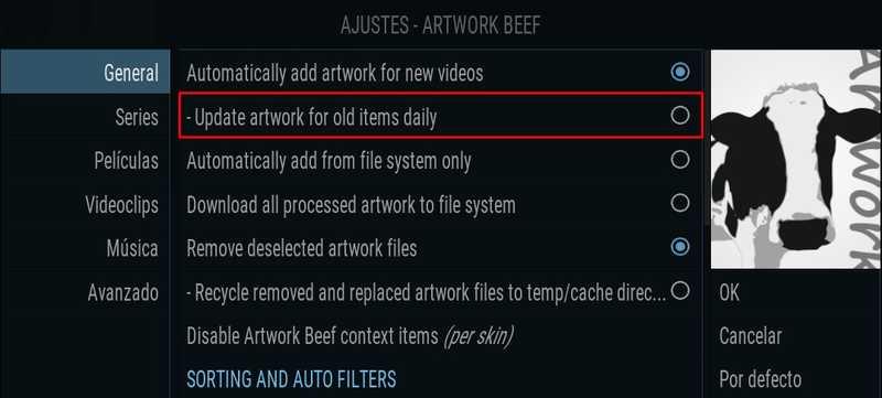 Artwork Beef, configuración general