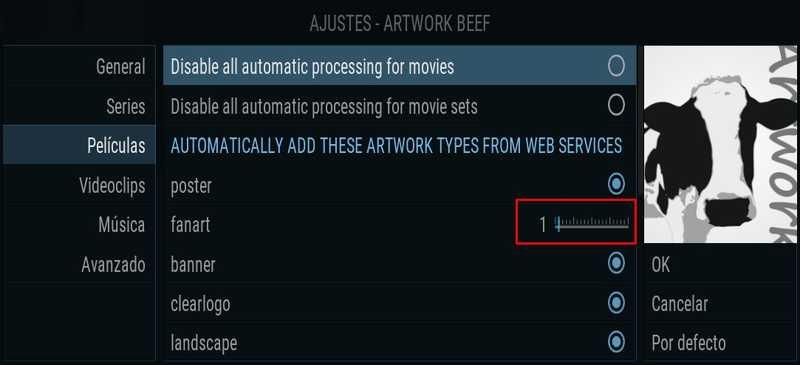 Artwork Beef, configuración películas