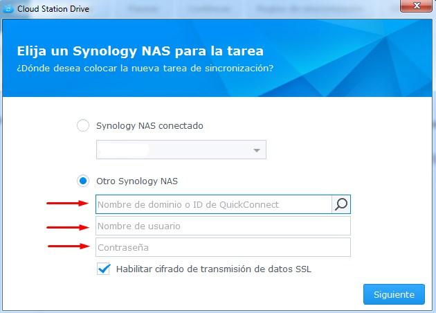 Crear tarea de sincronización Cloud Station Drive. Credenciales
