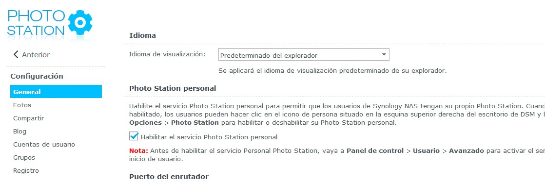 Configuración de Photo Station de Synology