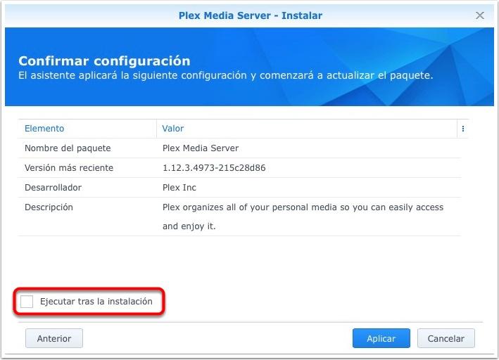 Resumen de la instalación de Plex Server en un NAS Synology