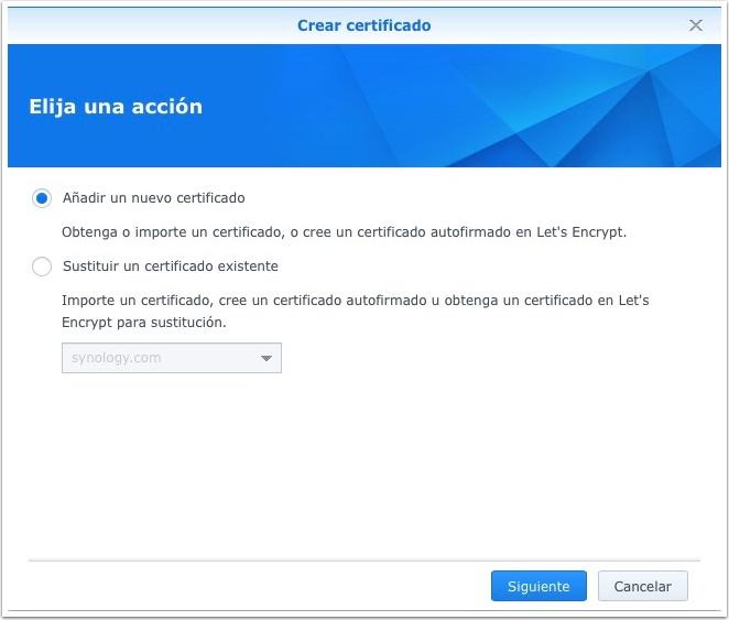 Synology, añadiendo un nuevo certificado