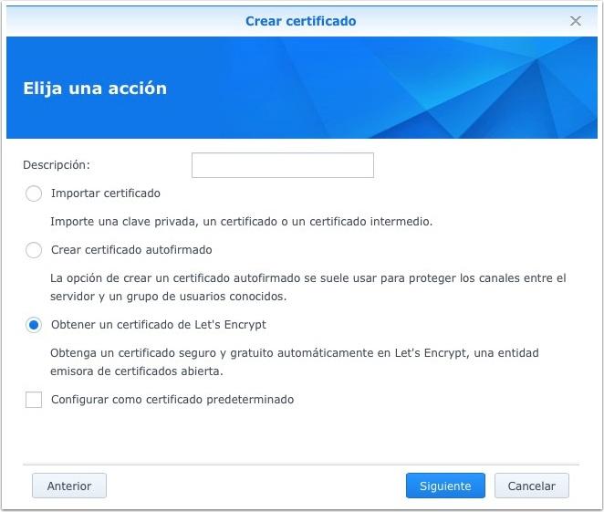 Synology, obtener un certificado Let's Encrypt