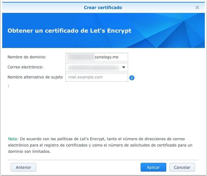 Synology, creando el nuevo certificado Let's Encrypt