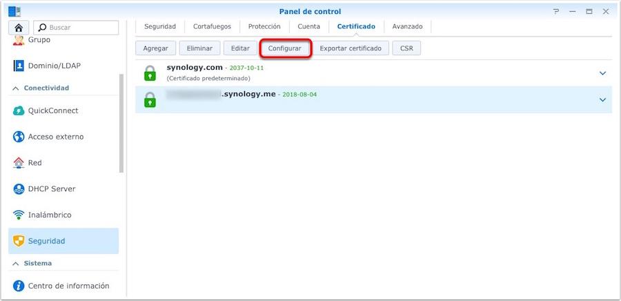 Synology. Configurar los certificados