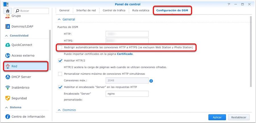 Synology, configuración de DSM para redirigir de HTTP a HTTPS