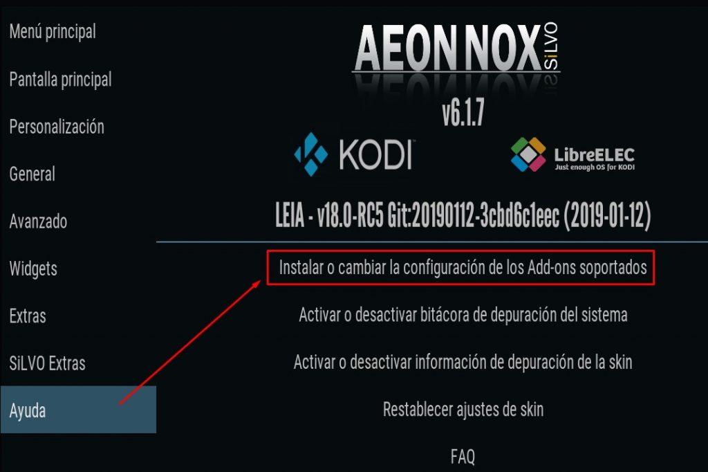 Sección Ayuda del skin Aeon Nox Silvo