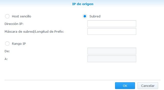 Creando una regla firewall según la IP de origen