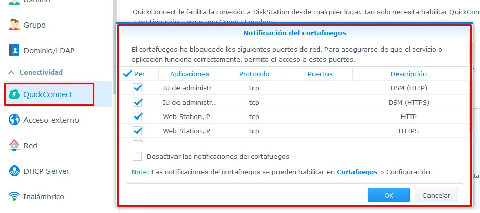Quickconnect y Firewall de Synology